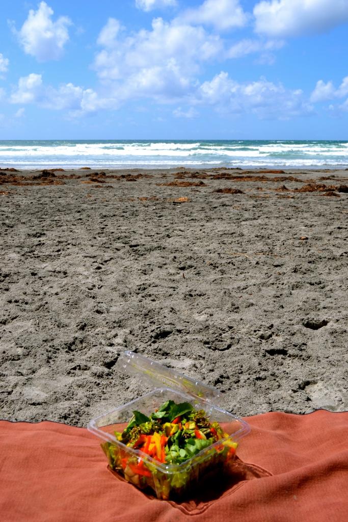 Salad on Blacks Beach:) No nudie time for me!