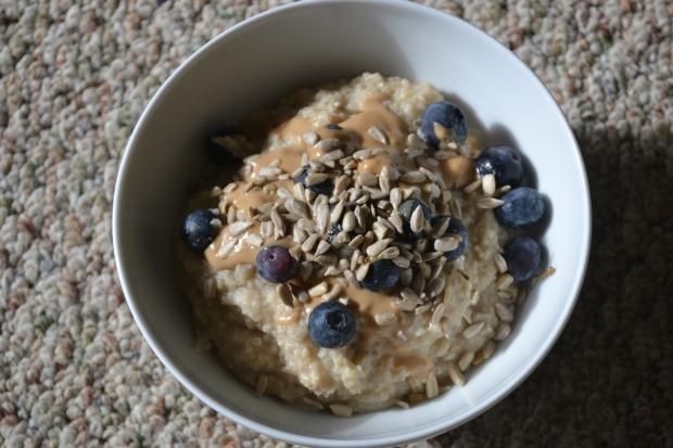Oat bran, blueberries, tahini, stevia, and sunflower seeds